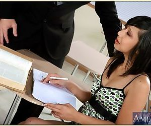 Asian college girl Lily Li stripped and bent for rough pussy drilling