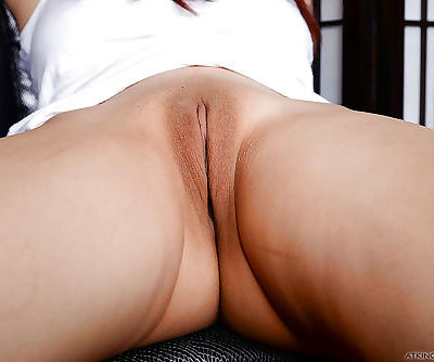 Asian cutie Lea Hart parting shaved vagina and filthy asshole