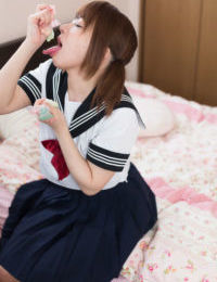 Japanese schoolgirl seduces her stepfather exactly after wanking her hirsute twat