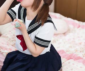 Japanese schoolgirl seduces her procreator verification masturbating her prudish muff