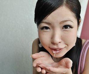 Asian teen Mana Kikuchi gives devotee and gets mouth full of creamy jizz
