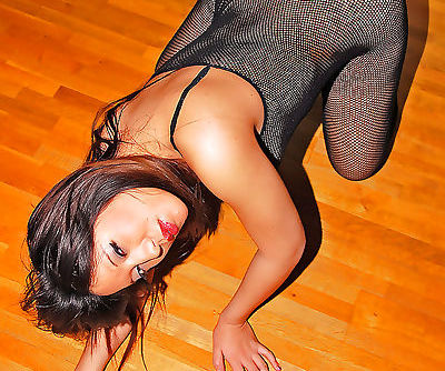 Asian first timer Makino posing solo in see thru mesh bodystocking