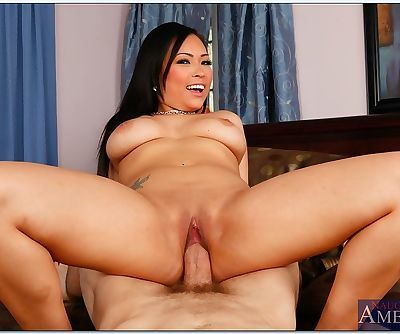 Asian babe with big tits Gia Grace gets her pink pussy slammed hardcore