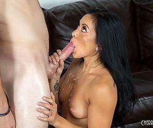 Top Asian pornstar Morgan Lee gets fucked by a condom covered penis