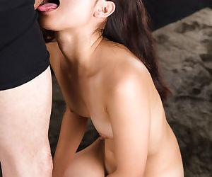 Nude Japanese cooky Ariumi Mizuho wipes rub-down the jizz missing her face monitor giving a BJ