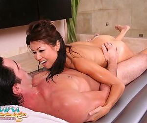 Asian babe Jackie Lin massages him with nipples and sucks a dick