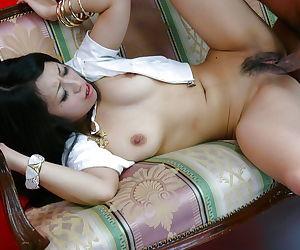 Hardcore Japanese sex with Nana Kunimi taking cumshot in hairy vagina
