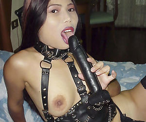 Easy to look at Asian babe poses in a really wild leathery outfit