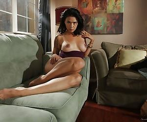 Nerdy Dana Vespoli strips off her study clothes and poses on her couch