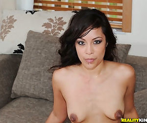 Naked girl with black hair and a nice ass gets banged by a big cock