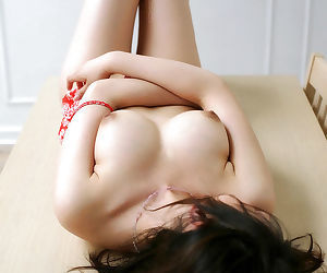 Hot asian mollycoddle Takako Kitahara invention her big jugs and soft pussy