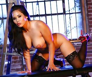 Asian babe in stockings Jessica Bangcock uncovering her wooing curves