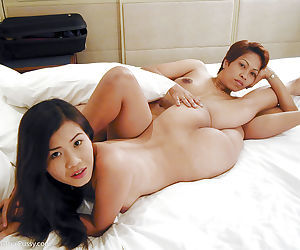 Zoftick asian girlie posing and humping with her older girlfriend