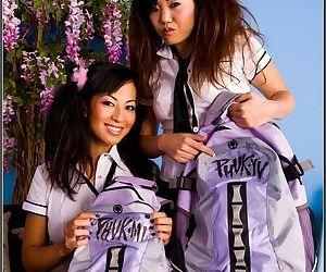 Asian schoolgirls in uniform Gianna Lynn and Kaiya Lynn fucked hard