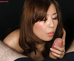 Pretty Japanese unladylike licks cum alien fingers after sucking POV