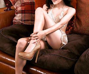 Asian pornstar babe Ayla Sky is posing her new lovely dress