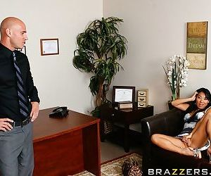 Asa Akira gets her shaved asian pussy drilled hardcore by a big white boner