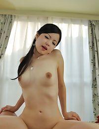 Asian cutie Mana Kikuchi licks a boner and gets her hairy pussy nailed