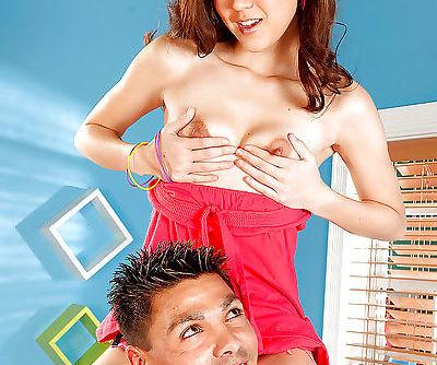 Petite asian teen Amai Liu strips off panties and plays with a cock