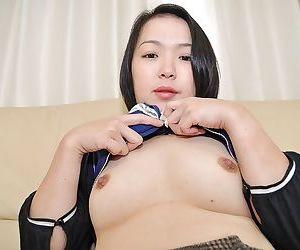Asian MILF Asami Sawai takes deficient keep her panties coupled with enjoys coitus toys feigning