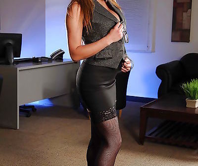 Foxy asian MILF Mia Lelani stripping and teasing her cunt in the office