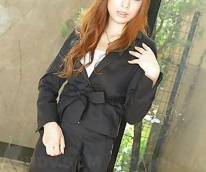 Astonishing Asian tolerant Rina Kikukawa poses seductively fully suffer with outoors