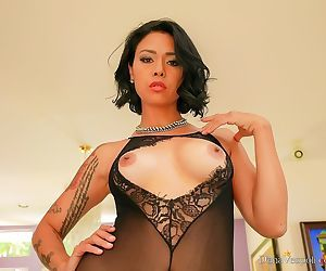 MILF pornstar Dana Vespoli strutting around house in crotchless bodystocking
