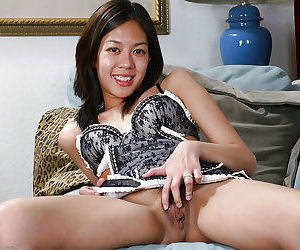 Cute Asian first timer Starlingz pulling down panties to masturbate