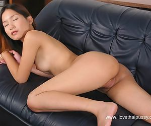 Masturbating Asian babe with tiny tits and tight ass caught in her panties