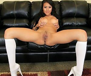 Young Asian girl Jayden Lee toys her trimmed pussy in white knee socks