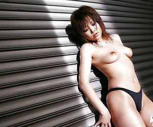 Underhanded asian bachelorette with petite tits Hitomi Yoshino posing in perfidious panties