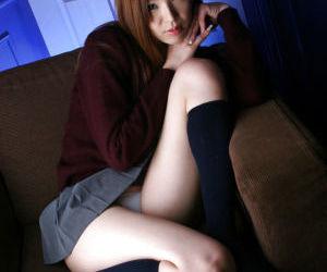 Sweet asian schoolgirl Mai Hanano stripping off her uniform