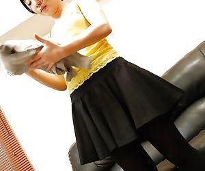 Asian MILF Shizuka Saeki stripping down and playing with a vibrator