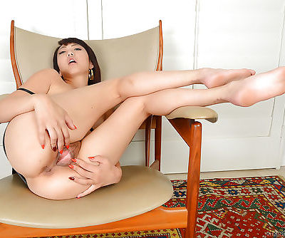Small breasted Asian spinner Miko Dai finger fucking spread pussy