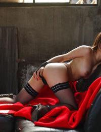 Japanese juvenile in nylons Hikaru Koto teasing her cunt underside her underclothes
