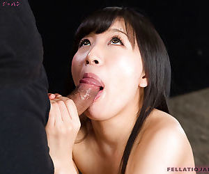 Essential Japanese chick Kurihara Moeka spits out jizz probe sucking horseshit