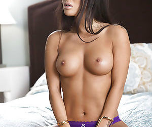 Famous Asian pornstar Asa Akira loosing nice tits from satin brassiere