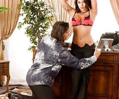 Hot pornstar Jenaveve Jolie gives a blowjob and gets shagged hardcore
