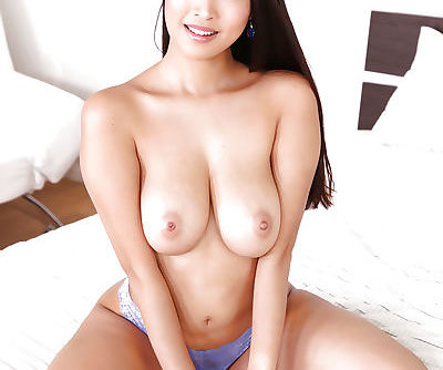 Asian first timer Sharon Lee fondling big milky tits for close ups