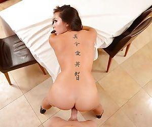 Hardcore ass fucking action features brunette Asian Morgan Lee
