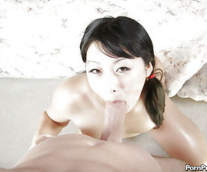 Asian cocksucker Lena Lang getting a meaty dick in her horny cunt