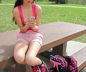 Asian teen babe Amai Liu stripping outdoor showing her tight pussy