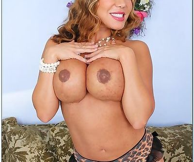 Big busted asian MILF in stockings Ava Devine stripping off her clothes