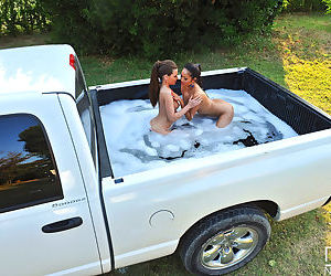 Nude females Subil Arch & Danika have lesbian sex in box of pickup truck