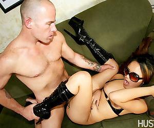 Asian pornstar Annie Cruz gets banged in sunglasses and black boots