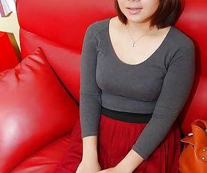 Close up upskirt scene featuring Asian teen babe in pantyhose Harumi Okuno