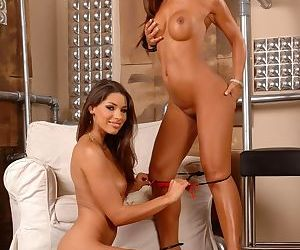 Lesbian babes Jade Sin and Zafira remove sexy lingerie while making love