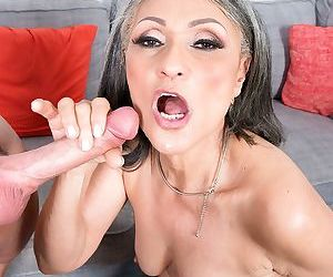 Asian granny Kokie Del Coco gets her hairy muff stuffed with a studs cock
