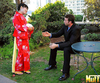 Japanese Geisha pleasures a white man she just met in a public park