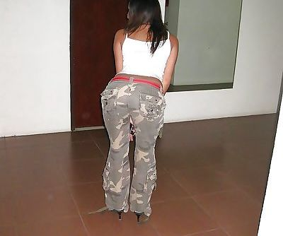 Thai chick flashes nice ass for close up after removing white panties